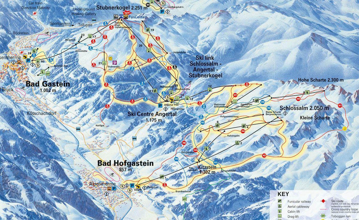Karte des Skigebietes Schlossalm-Angertal-Stubnerkogel