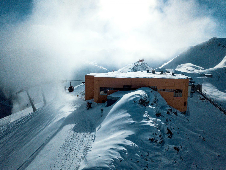 Luftaufnahme der Bergstation der Stubnerkogelbahn.