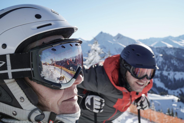 Reflexion in der Skibrille in Dorfgastein