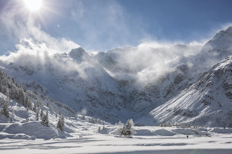 die herrlich verschneite Landschaft in Sportgastein