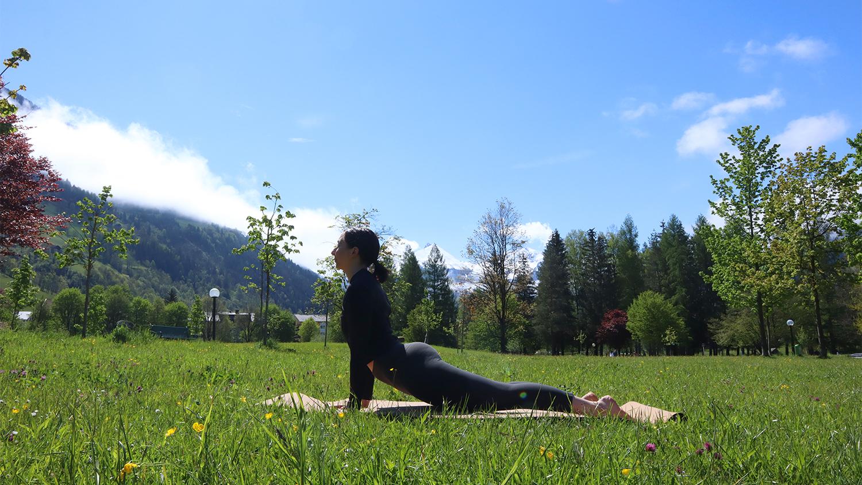 Hinaufschauender Hund Asana Yogafrühling Gastein
